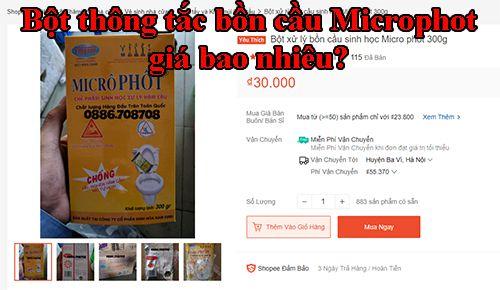 Bột thông tắc bồn cầu Microphot giá bao nhiêu?